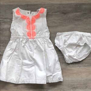 Carter's white and coral dress 12 months